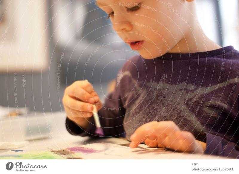 kreativität Mensch Kind Hand ruhig Gesicht Leben Junge Stimmung Kunst Familie & Verwandtschaft Wohnung Freizeit & Hobby Häusliches Leben Zufriedenheit Kindheit Gemälde