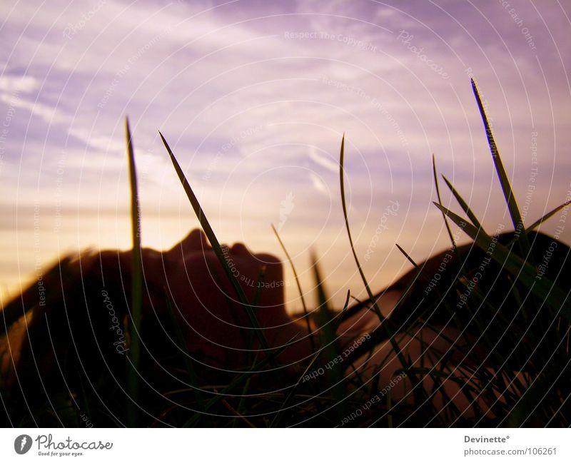 Faszination: Sommer Porträt Selbstportrait Gras Wolken rosa schwarz Himmel Frau liegen Sonne Sonnenuntergang blaum orange Mensch Ich