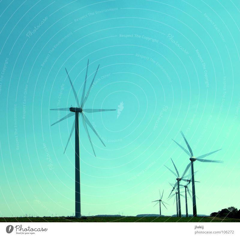 Generators Himmel Luft Kraft Feld Wetter Industrie Energiewirtschaft Elektrizität Netz Klarheit Windkraftanlage Unternehmen drehen Sportveranstaltung beweglich