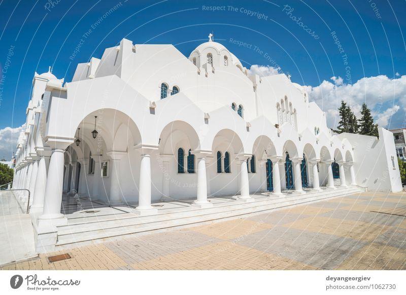 Typische griechische Kirche schön Ferien & Urlaub & Reisen Tourismus Meer Insel Himmel Dorf Gebäude Architektur blau weiß Religion & Glaube Tradition