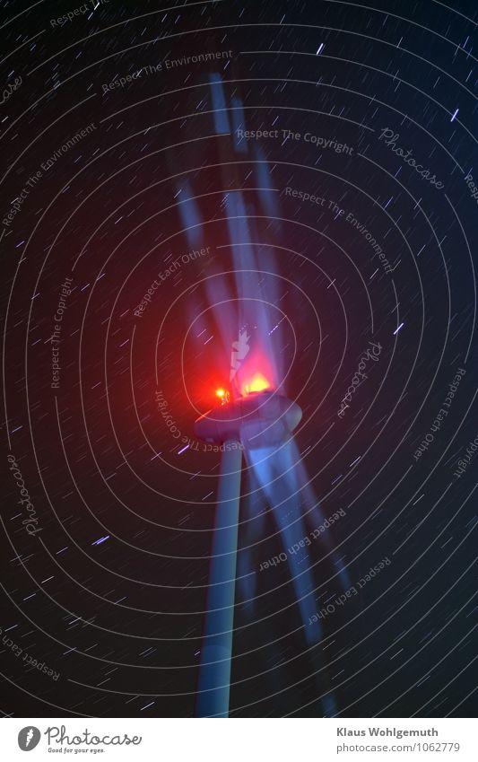 Schwindelig/ durchgedreht Energiewirtschaft Maschine Technik & Technologie High-Tech Erneuerbare Energie Windkraftanlage Energiekrise Nachthimmel Stern drehen