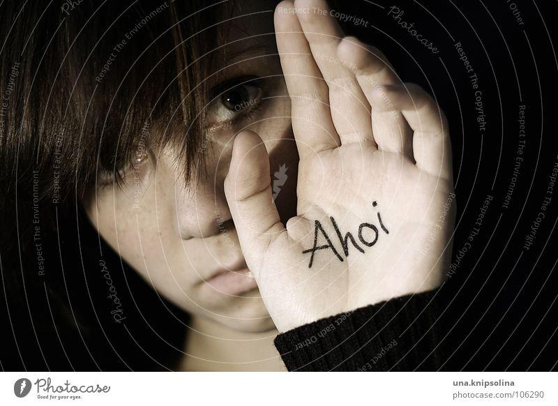 ahoi Junge Frau Jugendliche Erwachsene Hand Traurigkeit Gefühle Trauer Verzweiflung Abschied Ahoi salutieren Handfläche Porträt 18-30 Jahre