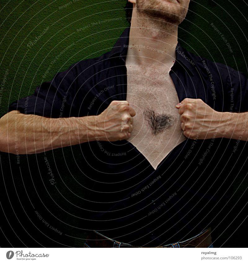 Herzkasper Mann Hand grün schwarz Haare & Frisuren Arme offen Brust Bart Gefäße Faust Kasper Fußknöchel Brustbehaarung
