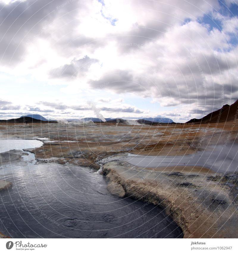 ISLAND / Námafjall [10] Himmel Natur Pflanze Wasser Landschaft Wolken Umwelt Berge u. Gebirge Wärme See Sand Felsen Horizont Luft Erde Nebel