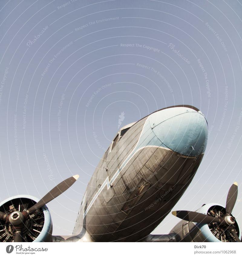 Air Nostalgia Abenteuer Ferne Freiheit Wolkenloser Himmel Sonne Sonnenlicht Sommer Schönes Wetter Luftverkehr Flugzeug Passagierflugzeug Propellerflugzeug