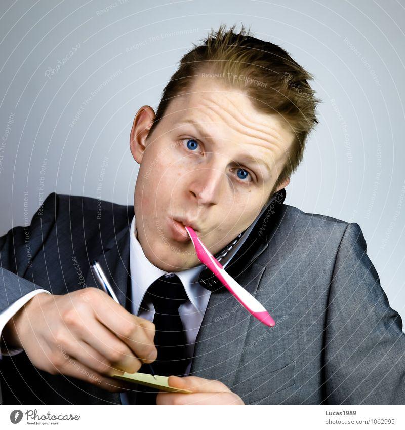 Multitasking 3 Arbeitsplatz Büro Business Karriere Erfolg sprechen Mensch maskulin Junger Mann Jugendliche Erwachsene 1 18-30 Jahre Anzug Haare & Frisuren blond