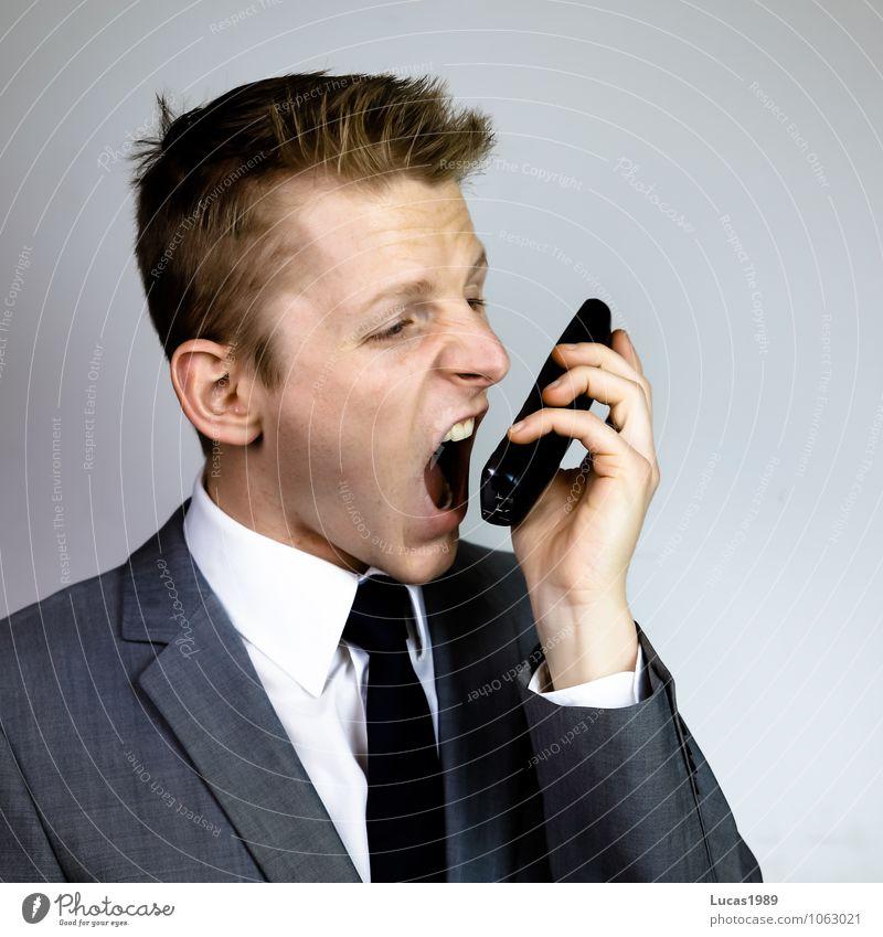 Der Schrei Arbeitsplatz Büro Wirtschaft Telekommunikation Callcenter Business Sitzung sprechen Mensch maskulin Junger Mann Jugendliche Erwachsene 1 18-30 Jahre