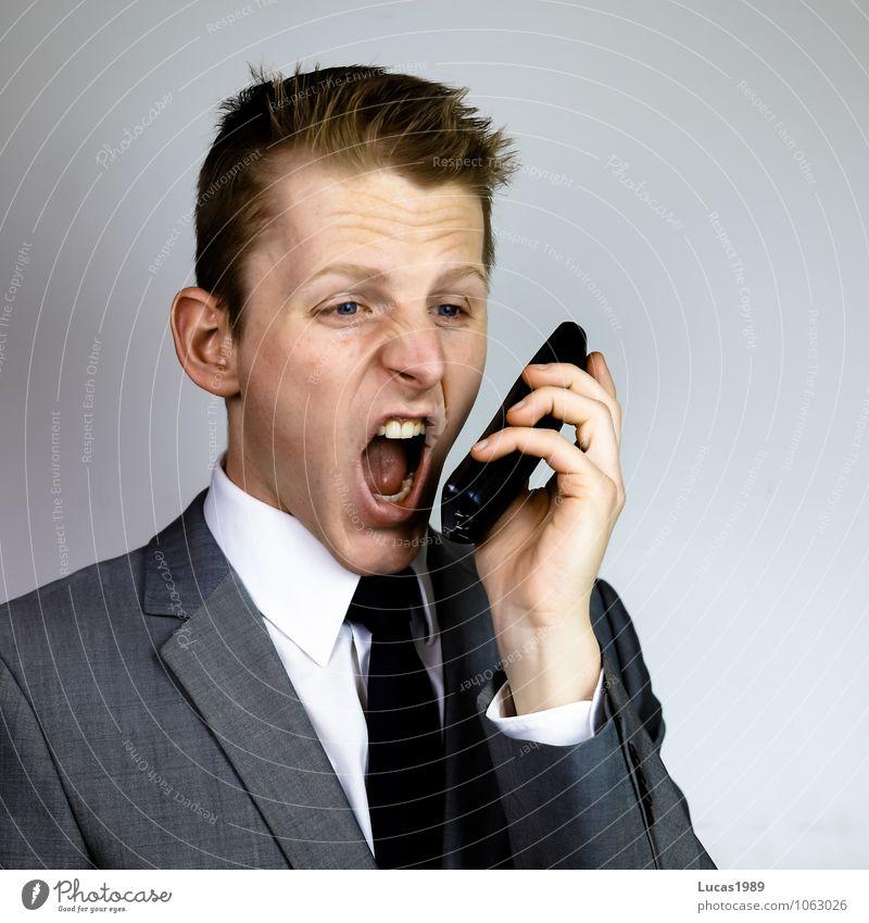 Fern(Streit)gespräch Arbeitsplatz Büro Telekommunikation Callcenter Business sprechen Konflikt & Streit Mensch maskulin Junger Mann Jugendliche Erwachsene