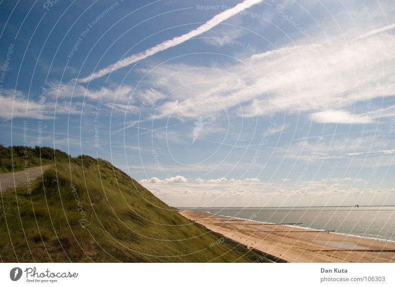 Weitblick Niederlande Zoutelande Walcheren Strand Wellen Wolken fein körnig lang Ebbe Holz Blick außergewöhnlich fantastisch Spektakel Meer wenige leer Wasser