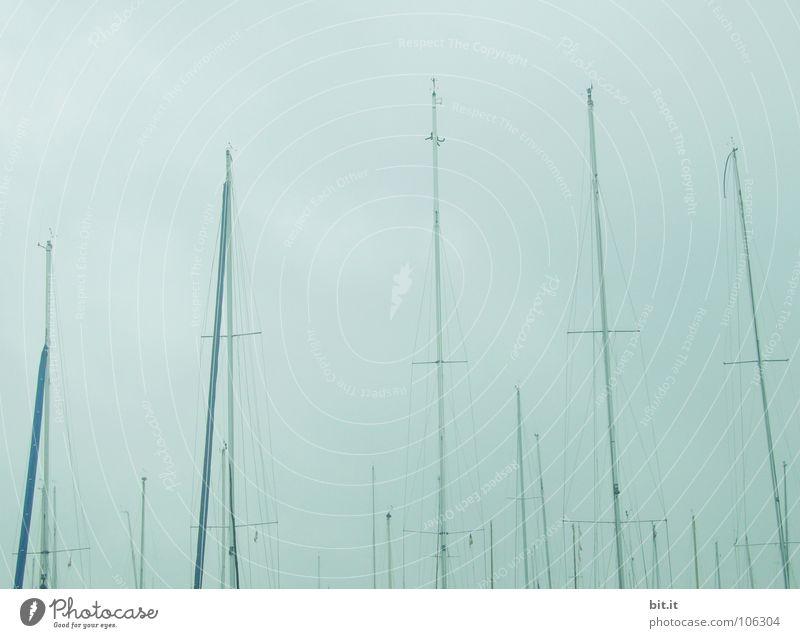 HIMMELWÄRTS Himmel Natur blau Wasser Ferien & Urlaub & Reisen weiß Meer Einsamkeit Wolken ruhig Erholung Ferne Landschaft oben Küste grau