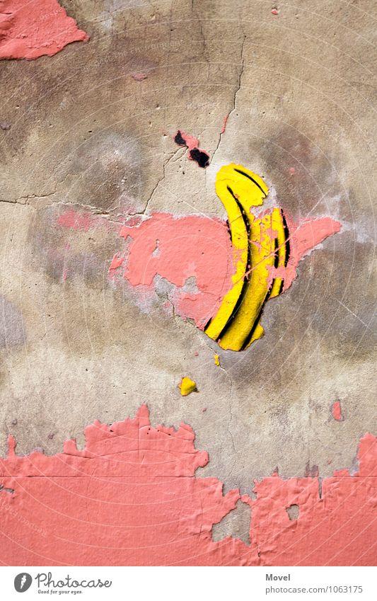 Bananensprayer Kunst Kunstwerk Architektur Stadt Mauer Wand Fassade Sehenswürdigkeit Stein Beton Zeichen Graffiti Bekanntheit einfach gut gelb rosa schwarz
