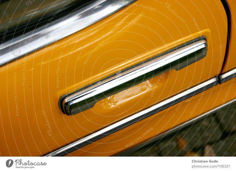 Einsteigen und losfahren gelb Griff Vogelperspektive Fenster Oldtimer Holzleiste Dinge Freizeit & Hobby Motorsport PKW mein Bruder parken Lackierung