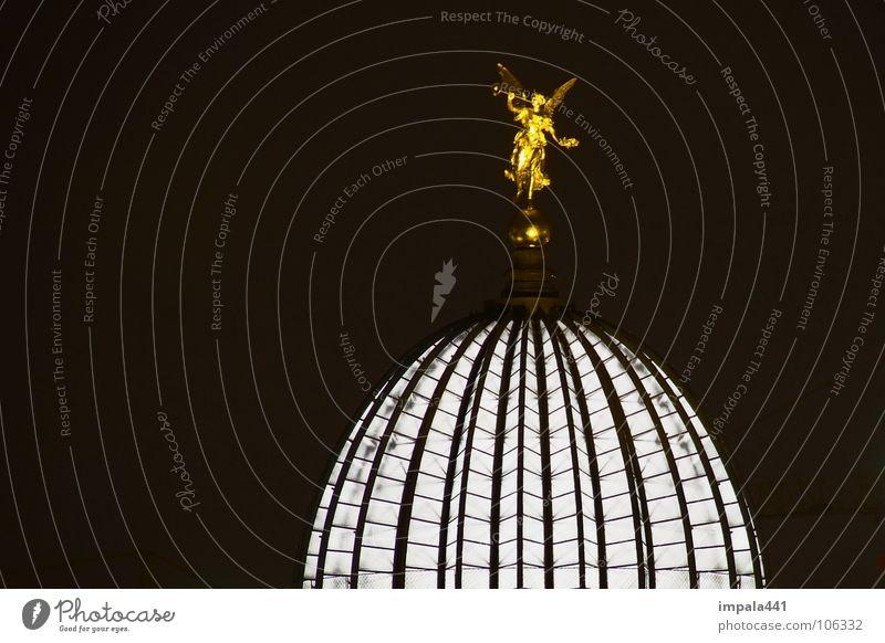 zitronenpresse Licht Nacht schwarz weiß Kuppeldach Langzeitbelichtung Trompete Detailaufnahme historisch Dresden Engel gold innenlicht Lampe Altstadt Baugerüst