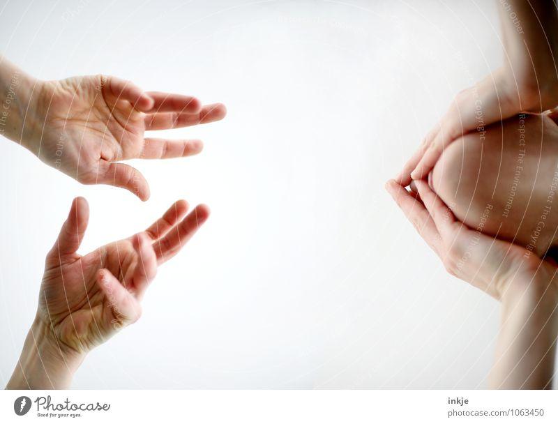 Redeschwall Sitzung sprechen Mensch Frau Erwachsene Mann Leben Gesicht Hand Hände auf dem Gesicht 2 Kommunizieren Gefühle Stimmung Zusammensein Scham Reue