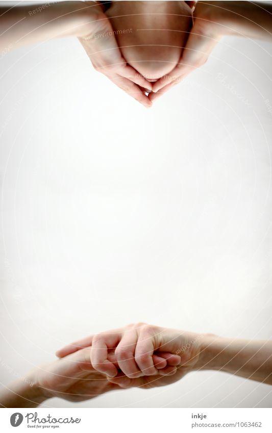 Dichtmachen. Sitzung sprechen Mensch Erwachsene Leben Gesicht Hand 2 festhalten Kommunizieren außergewöhnlich Langeweile Unlust Scham Reue Hemmung ignorant