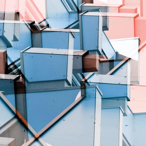Verkantet blau Farbe Architektur Stil Gebäude Fassade Design Linie rosa hell modern Ordnung Kreativität verrückt Perspektive Zukunft