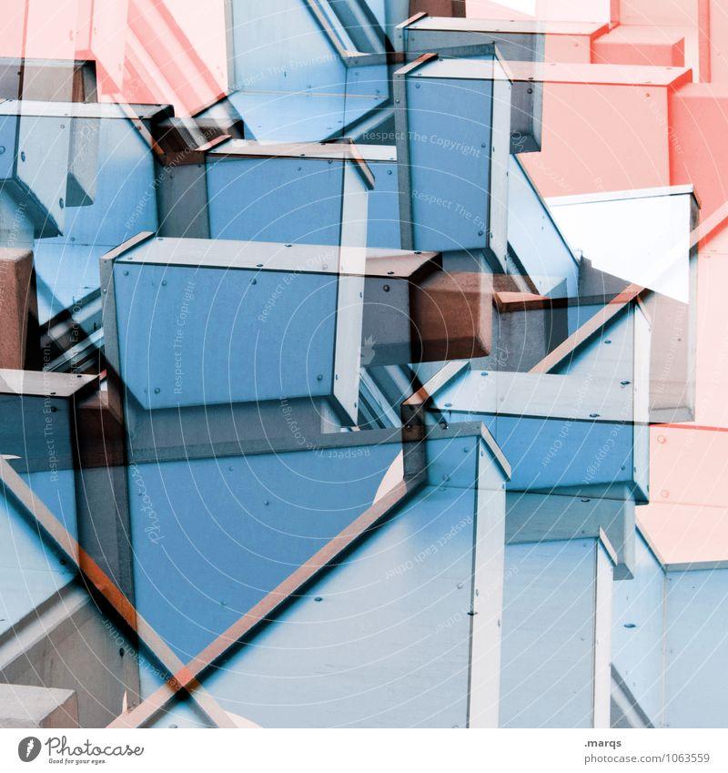 Verkantet Stil Design Bauwerk Gebäude Architektur Fassade Beton Linie eckig hell trendy einzigartig modern verrückt blau rosa Farbe Kreativität Ordnung