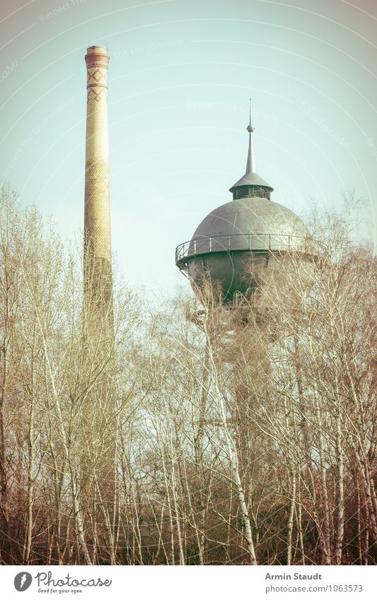 Alter Wasserturm und Schornstein Technik & Technologie Industrie Natur Wolkenloser Himmel Herbst Winter Schönes Wetter Baum Birke Park Wald Menschenleer