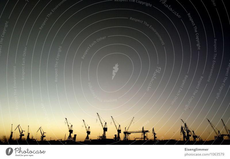 HH Hafen Himmel Wolkenloser Himmel Nachthimmel Sonne Sonnenaufgang Sonnenuntergang Winter Elbe Flussufer Hamburg Hafenstadt Deutschland Europa Menschenleer