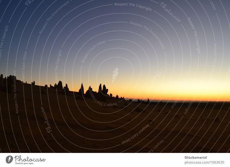 Pinnacles Australien Natur Landschaft Erde Sand Wolkenloser Himmel Horizont Sonnenaufgang Sonnenuntergang Wüste alt außergewöhnlich dunkel Ferne Unendlichkeit
