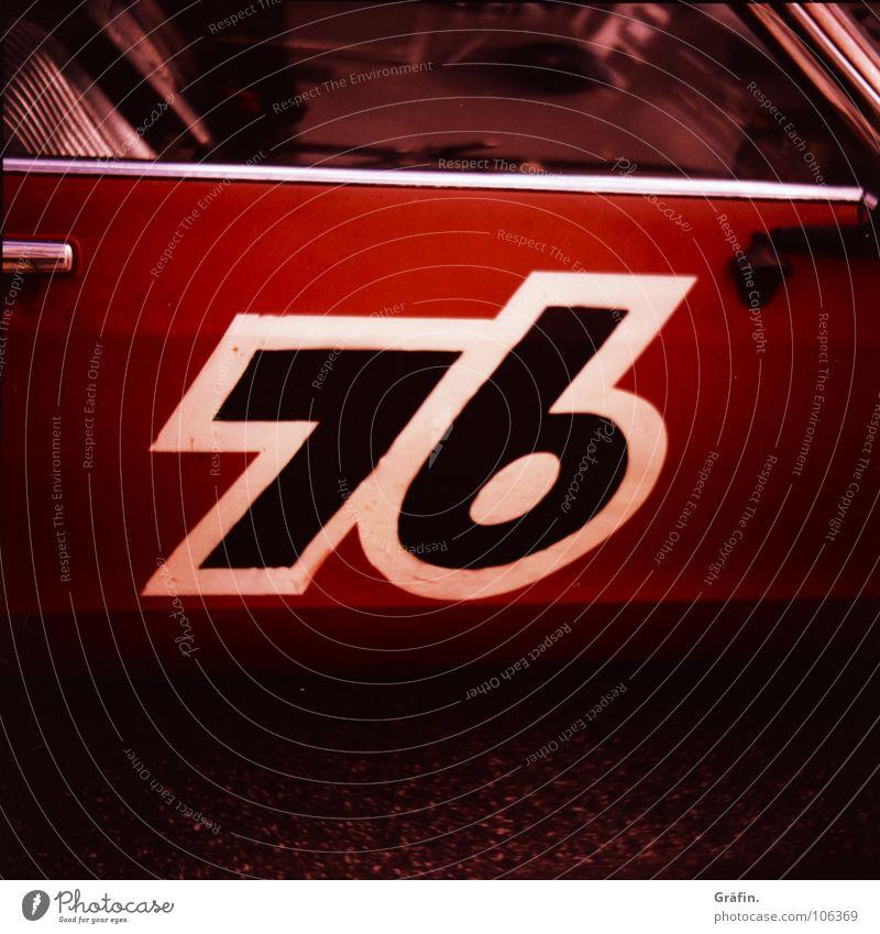 76er weiß rot schwarz PKW Tür Industrie KFZ retro Ziffern & Zahlen Fensterscheibe Etikett Griff 6 7 Lack umrandet