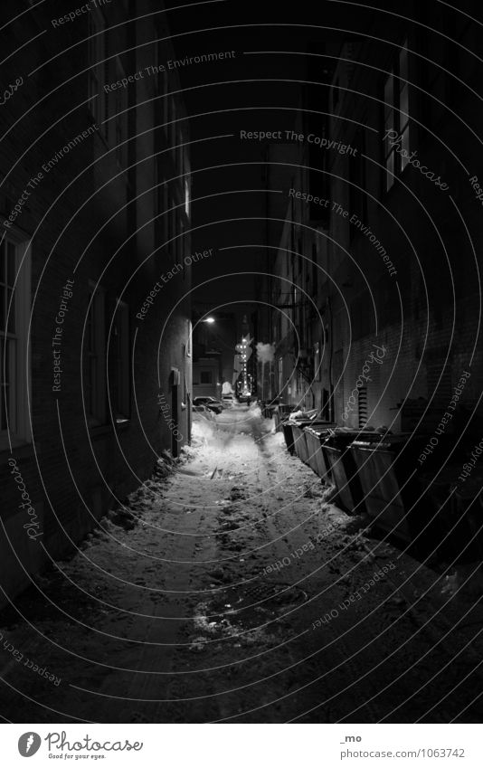 Alley Boston USA Nordamerika Stadtzentrum Haus Gebäude Mehrfamilienhaus Mauer Wand Treppe Fassade Hinterhof Straße authentisch dunkel kalt trashig schwarz weiß