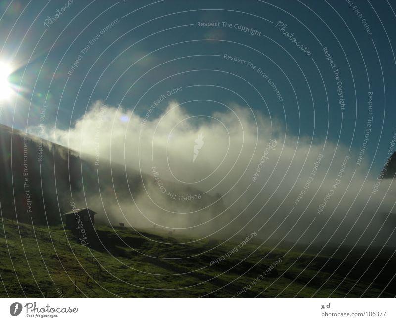 Sun and Clouds Wolken Wiese Sonnenstrahlen Berge u. Gebirge Hütte Himmel blau Dynamik Schatten Morgen Alm