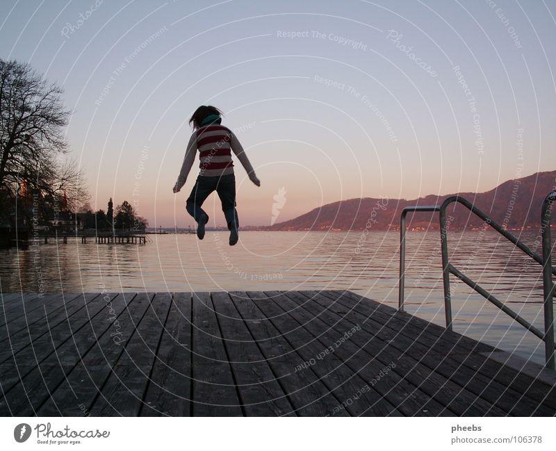 jump around springen Sommer Physik See Steg Holz Sonnenuntergang Juli Attersee Freude Wärme Holzbrett Energiewirtschaft Schwimmen & Baden