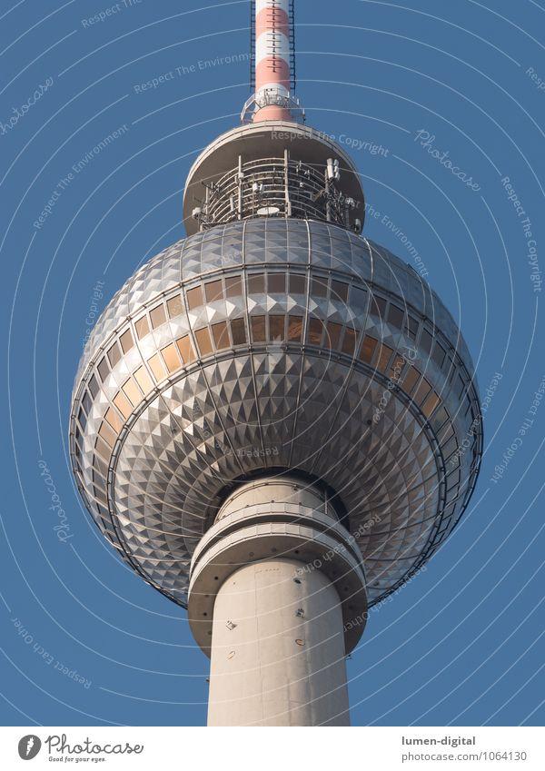 Berliner Fernsehturm Tourismus Restaurant Bundesadler Europa Hauptstadt Turm Sehenswürdigkeit Wahrzeichen Kugel hoch rund blau silber Ferien & Urlaub & Reisen