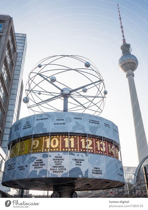 Weltzeituhr mit Fernsehturm Tourismus Uhr Berlin Deutschland Europa Hauptstadt Turm Sehenswürdigkeit Wahrzeichen Vergänglichkeit Wandel & Veränderung
