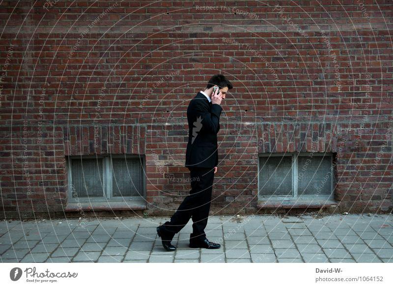 mobiel Handy telefonieren Mensch Jugendliche Junger Mann Erwachsene sprechen Arbeit & Erwerbstätigkeit maskulin Business elegant Erfolg Kommunizieren Telekommunikation Spaziergang Handy Sitzung Beratung