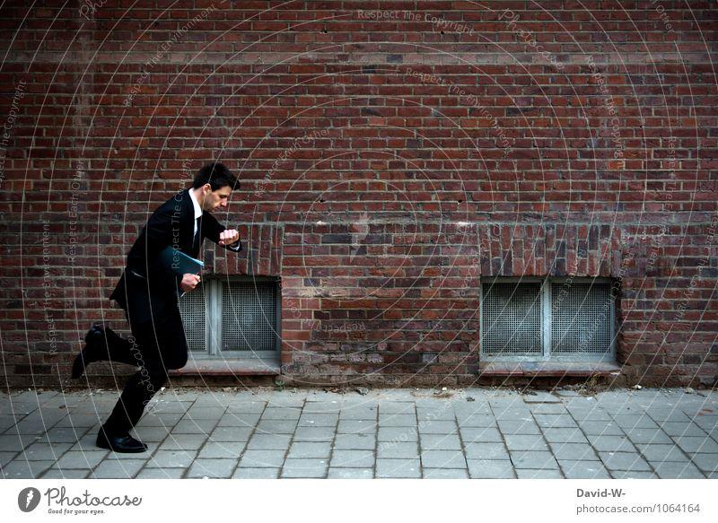 zu spät zum Meeting Mensch Mann Erwachsene Lifestyle Business Arbeit & Erwerbstätigkeit maskulin Uhr Erfolg laufen Eile sportlich rennen Sitzung Stress Anzug