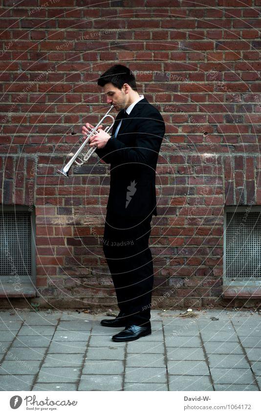 Jazz improvisation Trompete Jugendliche Junger Mann Erwachsene Leben Wand Stil Mauer Spielen Feste & Feiern Party Arbeit & Erwerbstätigkeit maskulin
