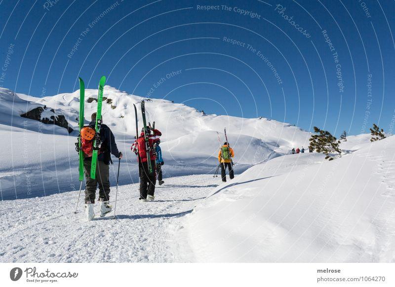 Tourenwetter Mensch Mann blau weiß rot Landschaft Winter Erwachsene gelb Berge u. Gebirge Schnee Sport grau Menschengruppe Felsen Tourismus
