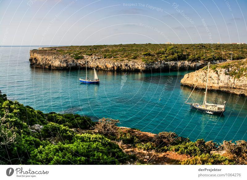 Mallorca von seiner schönen Seite 47 – Bucht mit Booten Natur Ferien & Urlaub & Reisen Pflanze Sommer Meer Landschaft Freude Tier Ferne Wald Umwelt Gefühle
