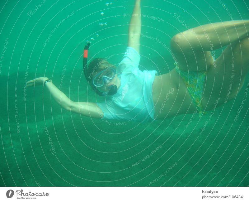 Meerjungfrau tauchen Strand Ferien & Urlaub & Reisen Cabo Verde Afrika Tauchgerät Schnorcheln Atlantik Nixe Frau Sommer Wassersport Mensch Freude