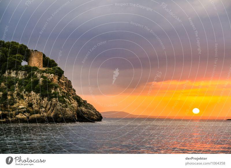 Mallorca von seiner schönsten Seite 49 - Turm im Sonnenuntergang Natur Ferien & Urlaub & Reisen Pflanze Sommer Meer Landschaft Wolken Tier Ferne Strand Umwelt