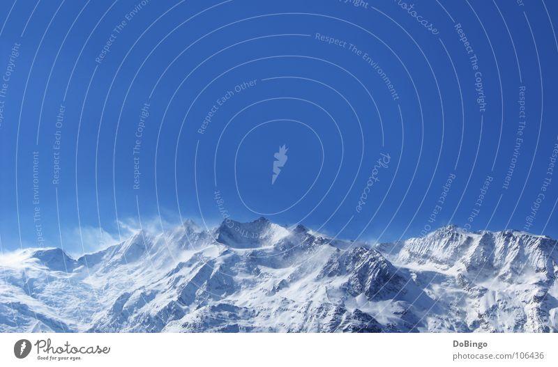 Bergwelten Himmel Natur Ferien & Urlaub & Reisen blau Winter Berge u. Gebirge Schnee Stein Eis Wind Europa Alpen Barriere Grenze Schweiz Österreich