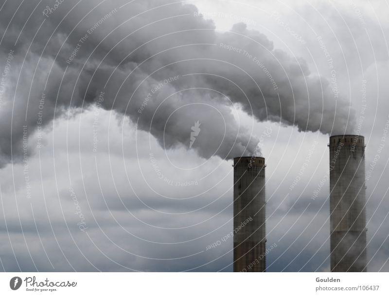 thank you for smoking Natur Himmel Wolken grau Luft dreckig Umwelt Industrie Energiewirtschaft gefährlich bedrohlich Rauch Schornstein Stromkraftwerke Atem Filter