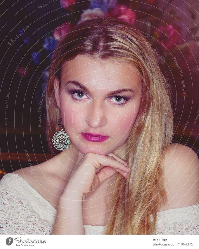 edel II Mensch Frau Jugendliche schön Junge Frau Blume 18-30 Jahre Erwachsene Gesicht feminin Haare & Frisuren rosa blond ästhetisch Gemälde Schmuck