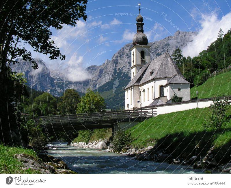Idyllisches Ramsau Natur Sommer Ferien & Urlaub & Reisen Wolken Erholung Berge u. Gebirge Landschaft Religion & Glaube Brücke Idylle Berchtesgaden Bayern Bach
