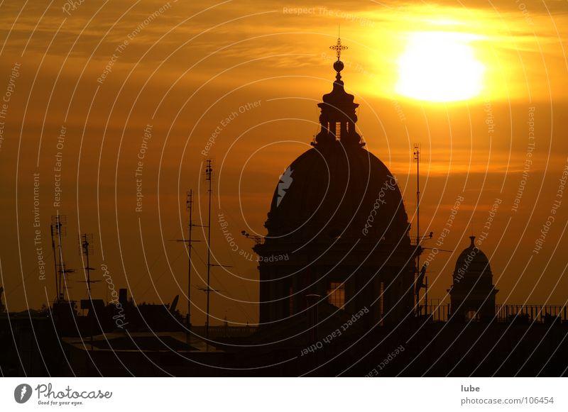 Sonnenuntergang in Rom Religion & Glaube Rom Antenne Kuppeldach Gotteshäuser Italien Lichtstimmung