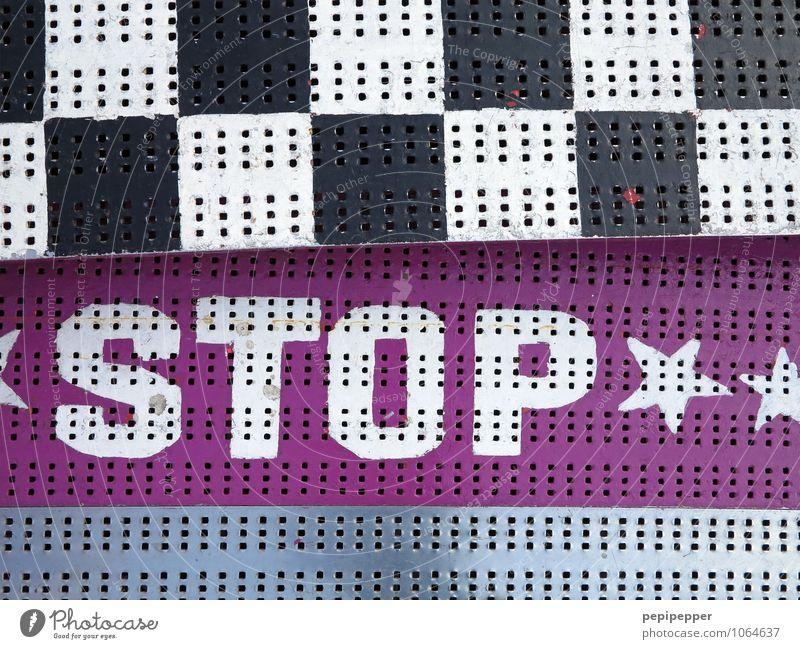 **STOP** Linie rosa Angst Schilder & Markierungen Schriftzeichen gefährlich Hinweisschild bedrohlich Streifen Abenteuer Zeichen Risiko Wachsamkeit Jahrmarkt