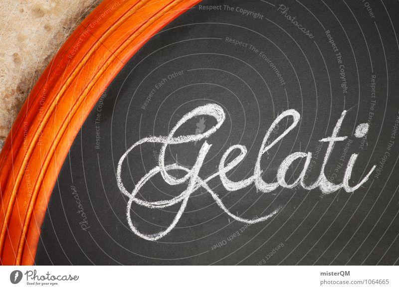 Gelati. Kunst ästhetisch Zufriedenheit Schilder & Markierungen Tafel Gelatine Schriftstück Café Werbung Farbfoto Gedeckte Farben Außenaufnahme Nahaufnahme