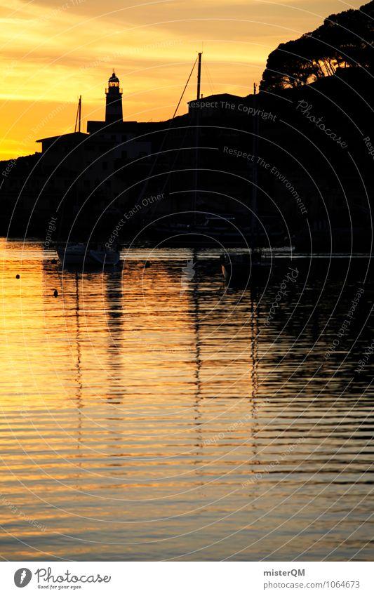 Goldener Hafen. Kunst Zufriedenheit gold ästhetisch Romantik Hafen Mallorca Leuchtturm Hafenstadt Urlaubsfoto Urlaubsstimmung Hafenleuchte Hafengebäude