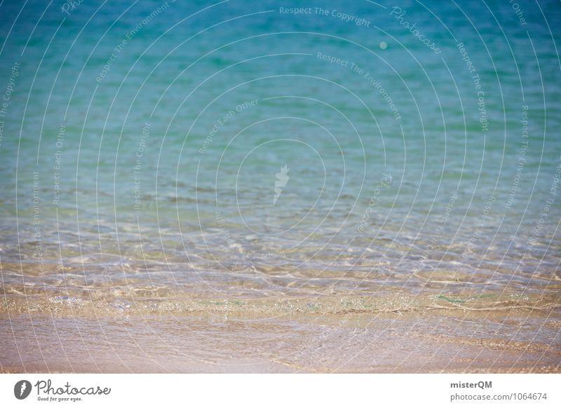 seicht. Umwelt Natur Wasser ästhetisch Zufriedenheit friedlich Meer Meerwasser Meeresspiegel Strand Wellenform blau Urlaubsfoto Urlaubsstimmung flach Farbfoto