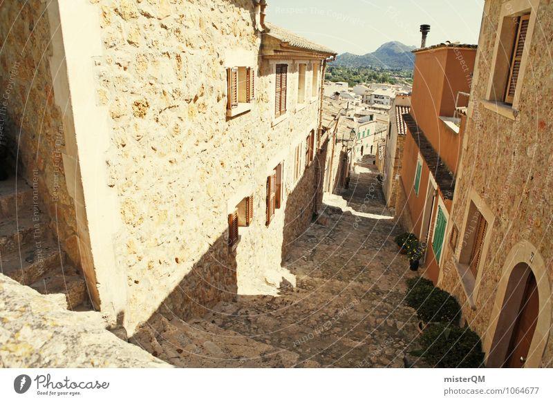 ... dann rechts ... Dorf Fischerdorf Kleinstadt Stadt Stadtrand Altstadt Menschenleer Haus Mauer Wand ästhetisch Mallorca Spanien mediterran Gasse Farbfoto