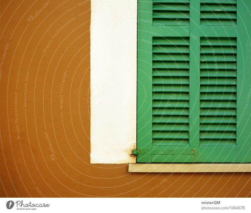 Auch schön. Kunst ästhetisch Fensterladen Fensterbrett Fensterblick Fensterrahmen Fensterfront grün braun Farbfoto Gedeckte Farben Außenaufnahme Nahaufnahme