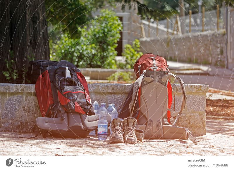 backpacker. Lifestyle Zusammensein 2 wandern ästhetisch Abenteuer Pause Symbole & Metaphern Rucksack Wanderschuhe Wasserflasche Rucksacktourismus Mittagspause Rucksackurlaub