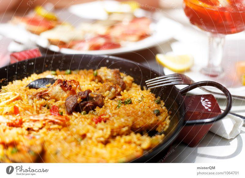 Spanish Food III Lebensmittel Fleisch Fisch Meeresfrüchte Gemüse Ernährung Mittagessen Slowfood ästhetisch Paella Spanien Mallorca lecker Pfanne Tisch Farbfoto